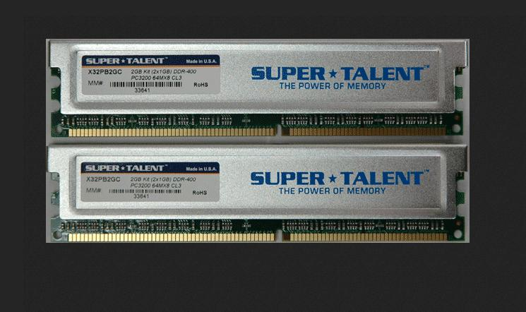DDram Super Talent X32PB2GC D400 2GB bus 400 (2X1GB) CL3 Dual Channel Memory Kit(PC and Mac G5)