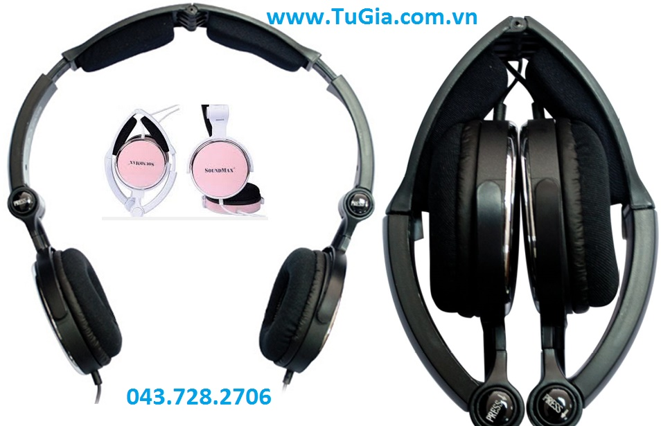 Tai nghe SOUNDMAX AH309 (Đen/ Hồng) headphone for PC & Laptop