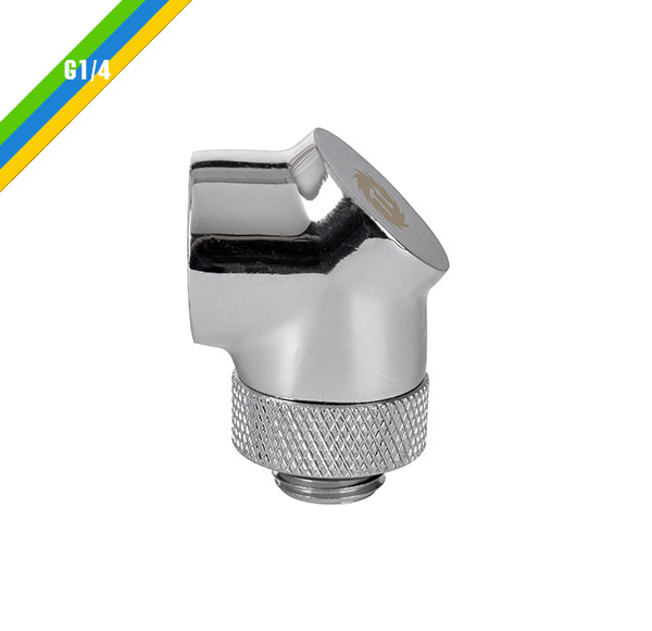 Fit 90 Adapter Chrome Thermaltake Pacific G1/4 OD 16mm (CL-W052-CU00SL-A)