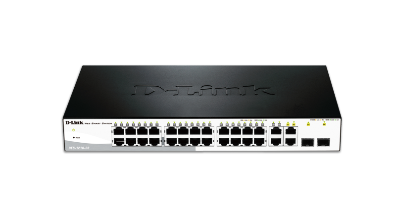 28-Port Fast Ethernet WebSmart Switch, including 2 Gigabit BASE-T and 2 Gigabit Combo BASE-T/SFP
