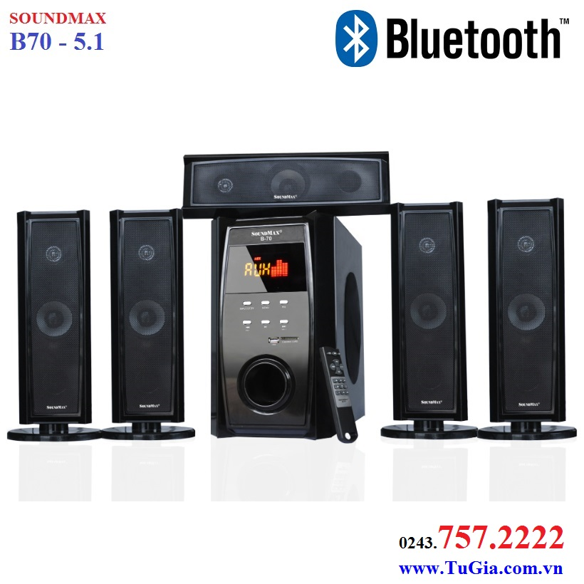 Loa SoundMax B70 - 5.1 Bluetooth 100W (USB, thẻ nhớ, remote, Optical, Coaxial)