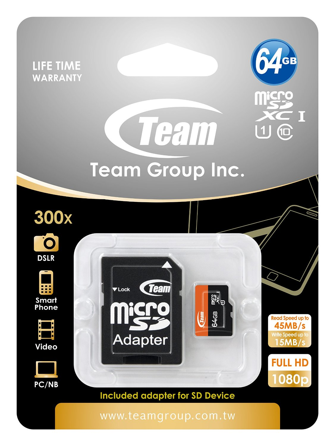 Thẻ nhớ TeamGroup 64GB-HC (UHS-I)  Micro SDHC Class 10  (box + adapter)