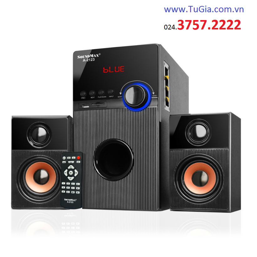 Loa SOUNDMAX A2123 (2.1) 60W: Bluetooth, USB, thẻ nhớ, remote