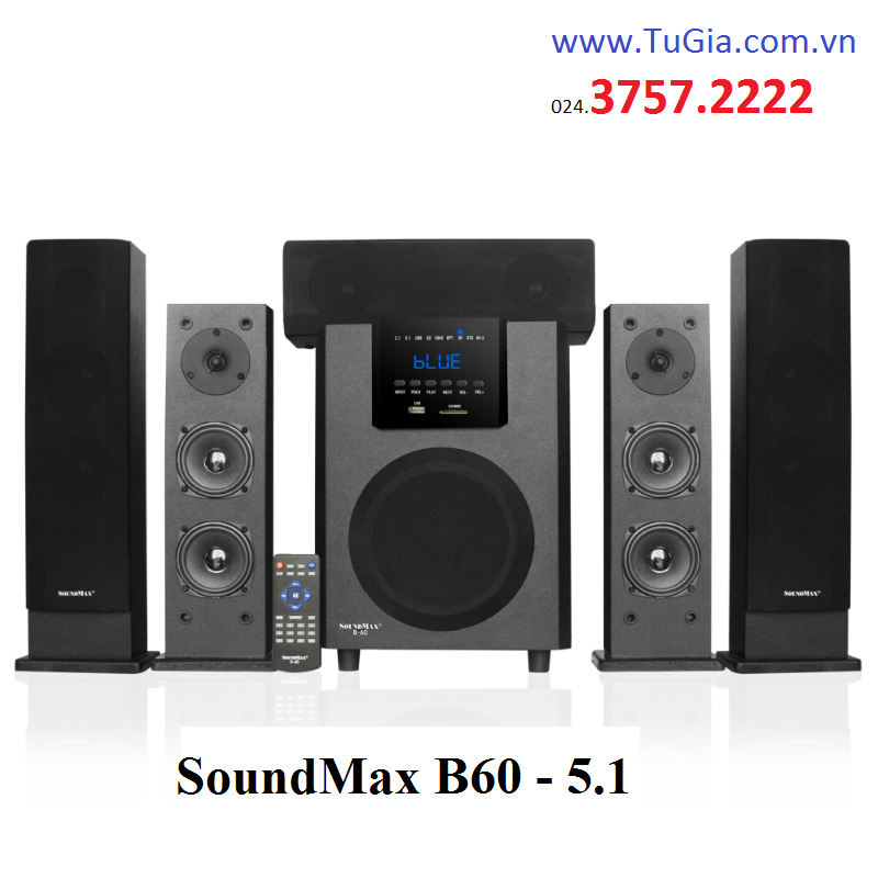Loa SOUNDMAX B60 (5.1) 105W: Optical, Coaxial, Bluetooth, USB, thẻ nhớ, remote