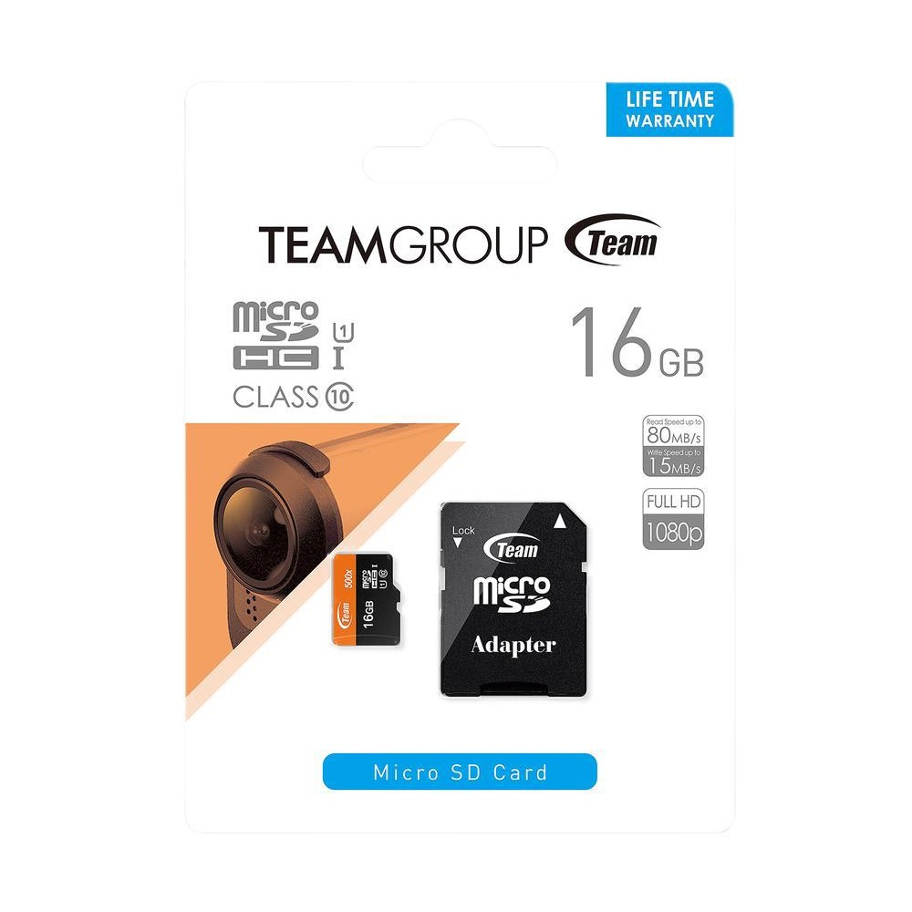 Thẻ nhớ TeamGroup 16G Micro SDHC Class 10 (Read 17~20MB/s ,Write 10~14MB/s)